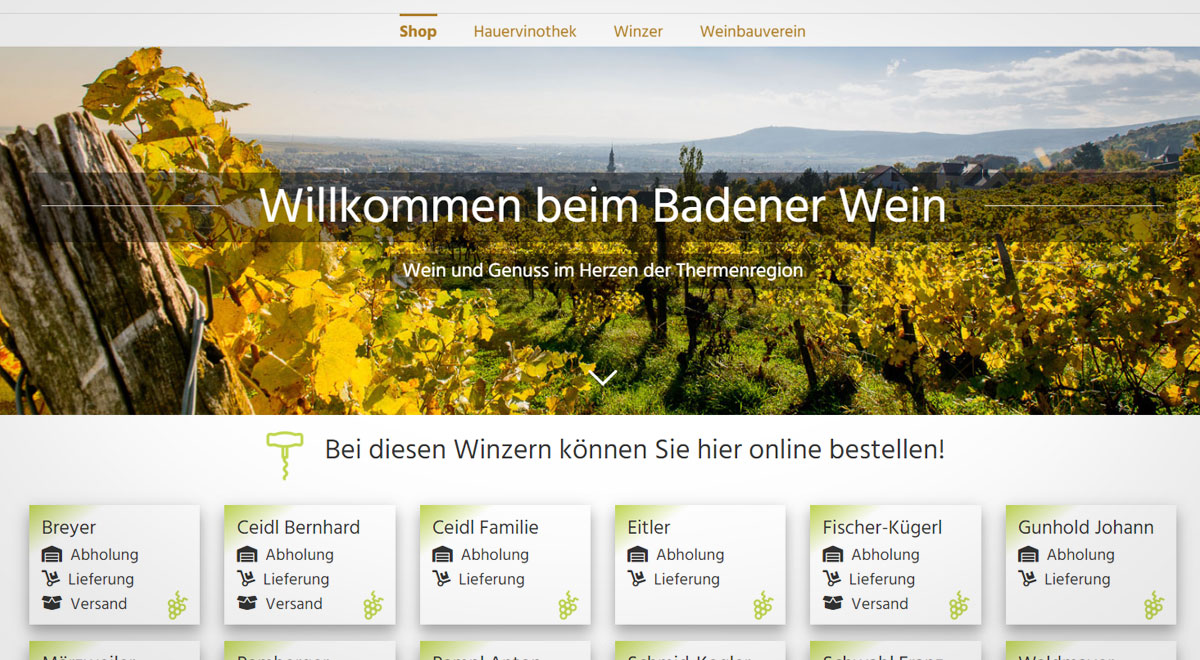 Website Badenerwein.at / Foto: Screenshot